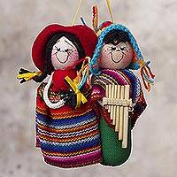 Cotton ornament, 'Zampona Serenade' - Cute Andean Musicians Hand Crafted Ornament