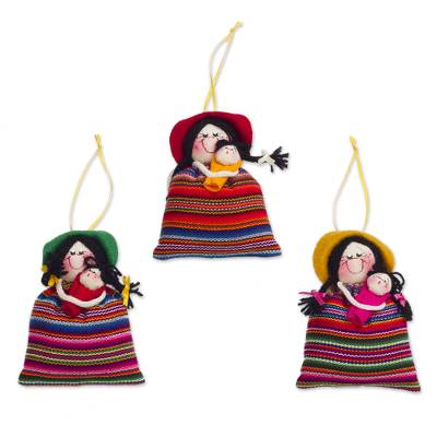 Ornaments, 'Cholita Mommies' (set of 3) - Andean Women with Babies Ornaments Seasonal Decor (Set of 3)