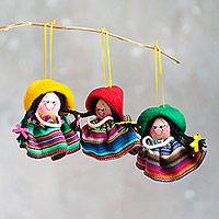 Ornaments, 'Happy Paisanitas' (set of 3) - Multi Color Traditional Andean Handmade Ornaments (Set of 3)