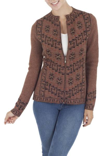 100% alpaca cardigan, 'Paracas Mystique' - Inca Glyphs on Brown Alpaca Cardigan with Zipper