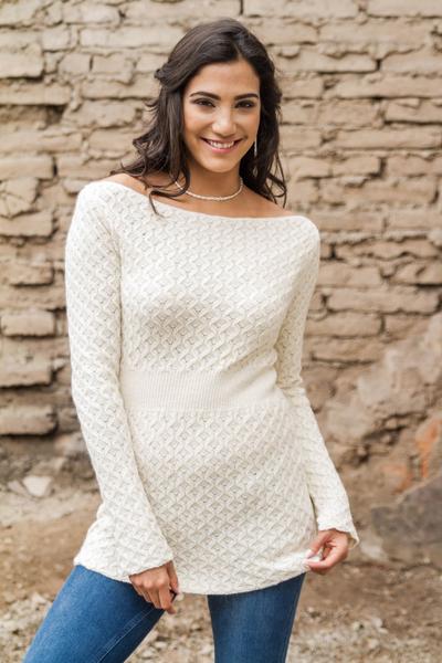 100% alpaca tunic, 'Marfil' - 100% Alpaca Tunic Long Sleeve Sweater in Ivory Color