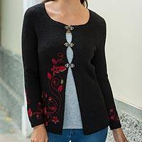 100% alpaca cardigan, 'Poinsettias by Night' - Black Alpaca Cardigan with Red Flowers and Heart Hooks