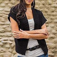 100% alpaca cardigan, 'Eternal Chic' - Short Sleeve Black Cardigan Knitted in Fine Alpaca