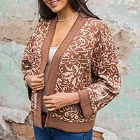 100% alpaca cardigan, 'Earthen Bouquet' - Open Cardigan Knitted of Genuine Alpaca in Brown and Beige