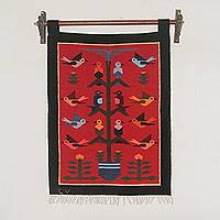 Wool tapestry, 'Red Birds in Eden' - Andean Handwoven Wool Tapestry with Birds on Red