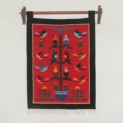 Wool tapestry, Red Birds in Eden