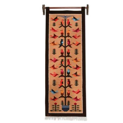 Wool tapestry, 'Swallows in the Desert' - Handwoven Wool Tapestry with Birds on Brown