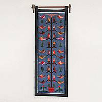 Wool tapestry, 'Swallows in the Sky' - Andean Artisan Handwoven Blue Wool Tapestry