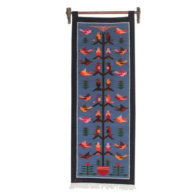 Andean Artisan Handwoven Blue Wool Tapestry
