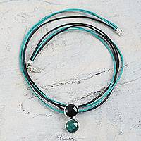 Onyx and chrysocolla pendant necklace, 'Beautiful Capricorn' - Peru Onyx and Chrysocolla Zodiac Necklace for Capricorn