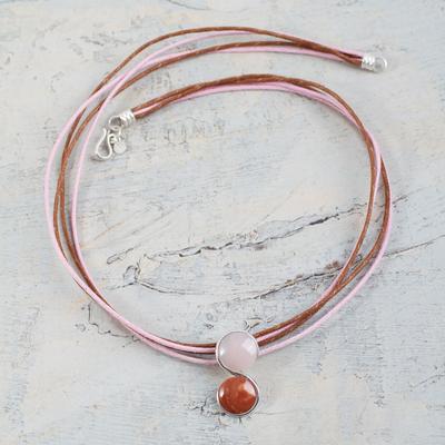 Rose quartz and jasper pendant necklace, 'Beautiful Virgo' - Rose Quartz and Jasper Virgo Handcrafted Zodiac Necklace