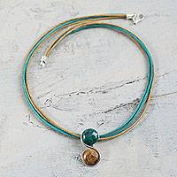 Tiger's eye and chrysocolla pendant necklace, 'Beautiful Gemini'