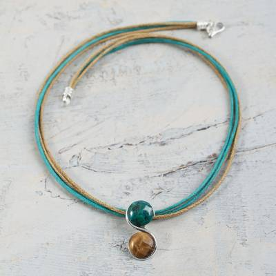 Tiger's eye and chrysocolla pendant necklace, 'Beautiful Gemini' - Gemini Zodiac Necklace with Tiger's Eye and Chrysocolla