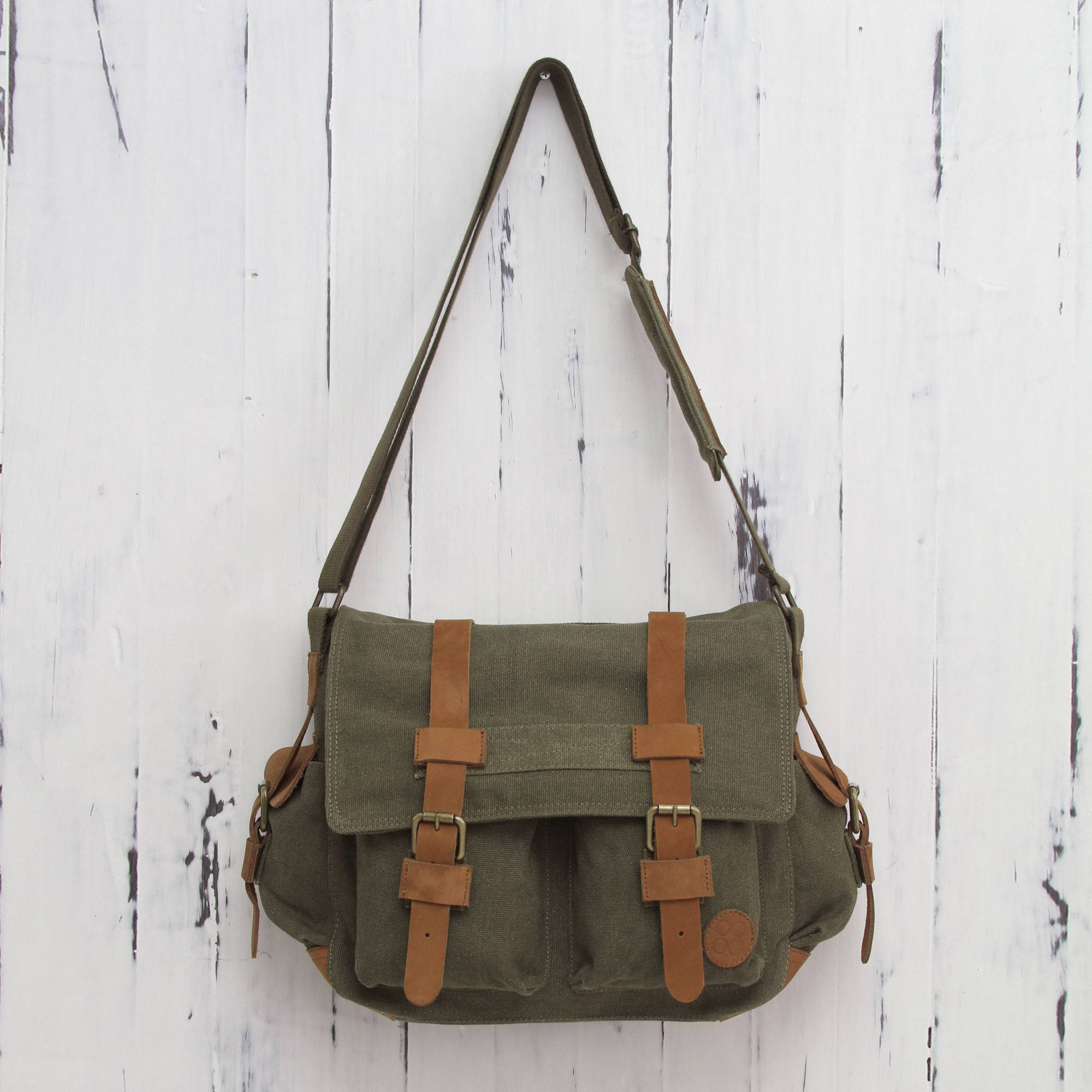 Leather Accent Roomy Canvas Messenger Bag In Green Journey To Manu