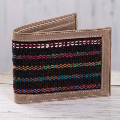 Men's wool accent leather wallet, 'Fiesta Night' - Artisan Crafted Men's Leather Wallet with Black Wool Inset