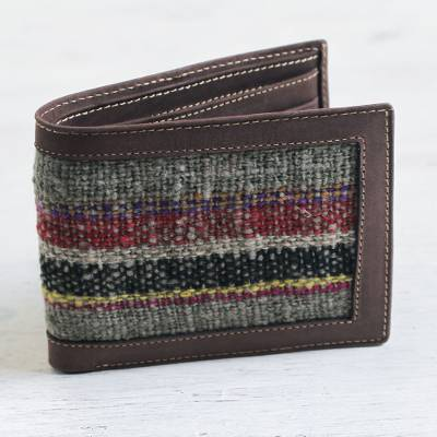 Wool accent leather wallet, 'Andean Afternoon' - Men's Leather Artisan Crafted Bifold Wallet with Wool Inset