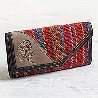 Leather and wool wallet, 'Floral Soul' - Backstrap Woven Wool and Brown Leather Tri-Fold Wallet