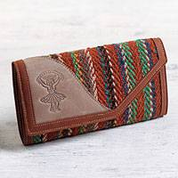 Leather and wool wallet, 'Dancer's Soul' - Women's Brown Leather Tri-Fold Wallet with Wool Inset