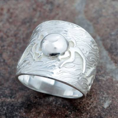 Sterling silver band ring, 'Moon Lightning' - Peru Handcrafted Wide Silver Ring for Women