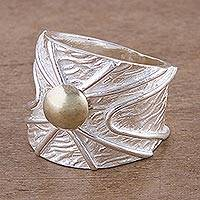 Gold accent sterling silver band ring, 'Inti Radiance' - Women's Wide Sterling Silver Band Ring