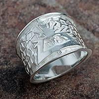 Sterling silver band ring, 'Bright Hummingbird'