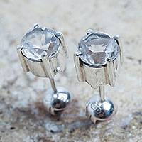 Quartz stud earrings, 'Touch of Radiance' - Handcrafted Sterling Silver Earrings with Crystal Quartz