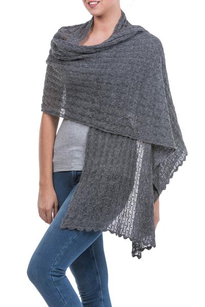 Alpaca blend shawl, 'Muse in Grey' - Charcoal Grey Sheer Knitted Alpaca Blend Shawl