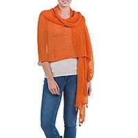 Alpaca blend shawl, 'Gossamer Orange Stars' - Knitted Alpaca Blend Shawl in Orange