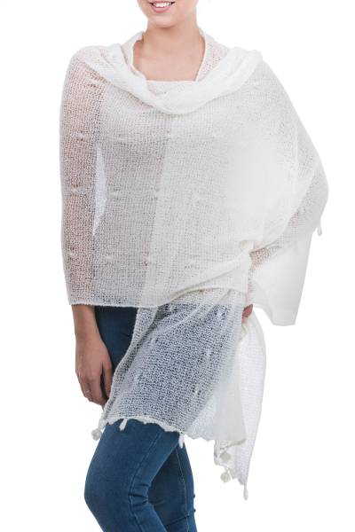 Alpaca blend shawl, 'Gossamer Ivory Stars' - Sheer Knitted Off White Alpaca Blend Shawl