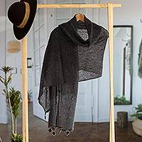 Alpaca blend shawl, 'Gossamer Grey Stars' - Andean Charcoal Grey Open Knit Alpaca Blend Shawl
