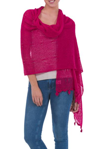 Alpaca blend shawl, 'Gossamer Raspberry Stars' - Andean Baby Alpaca Blend Raspberry Sheer Knitted Shawl