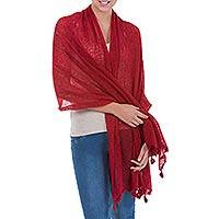 Alpaca blend shawl, 'Gossamer Crimson Stars' - Crimson Red Andean Alpaca Blend Shawl from Peru