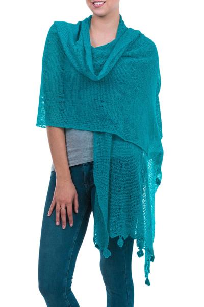 Alpaca blend shawl, 'Gossamer Turquoise Stars' - Turquoise Baby Alpaca Blend Open Knit Shawl