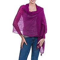 Alpaca blend shawl, 'Gossamer Orchid Stars' - Alpaca Blend Shawl in Deep Orchid