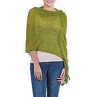 Alpaca blend shawl, 'Gossamer Green Stars' - Green Kitted Alpaca Blend Peruvian Shawl