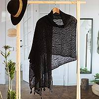 Alpaca blend shawl, 'Gossamer Night Stars' - Sheer Knit Black Andean Alpaca Blend Shawl