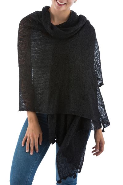 Alpaca blend shawl, 'Gossamer Night Stars' - Sheer Knit Black Andean Alpaca Blend Shawl