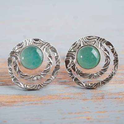Opal button earrings, 'Green Vibrations' - Handcrafted Sterling Silver and Green Opal Button Earrings