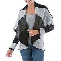 Alpaca blend cardigan, 'Grey Scale' - Open Cape Collar Alpaca Blend Cardigan in Black White Grey