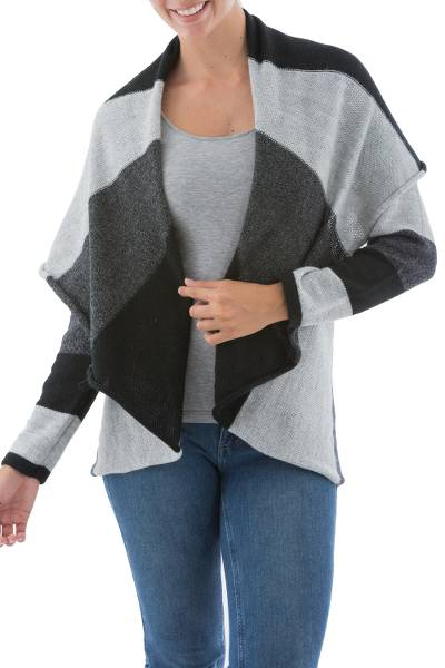 Alpaca blend cardigan, 'Grey Scale' - Womens Open Front Cape Collared Alpaca Blend Cardigan in Bla