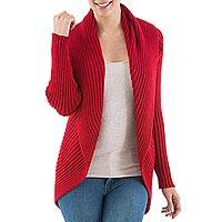 Alpaca blend cardigan, 'Divine Cherry' - Knitted Cherry Red Alpaca Blend Open Front Cardigan Sweater