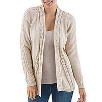Alpaca blend cardigan, 'Beige Beauty'