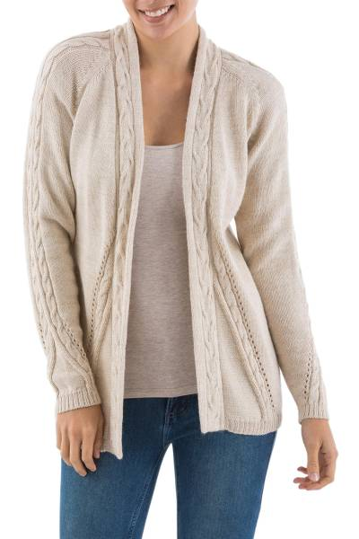 Alpaca blend cardigan, 'Beige Beauty' - Peru Beige Alpaca Blend Open Front Women's Cardigan Sweater