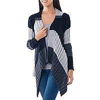 Alpaca blend cardigan, 'Bold Diagonal' - Black And White Alpaca Blend Open Front Cardigan Sweater