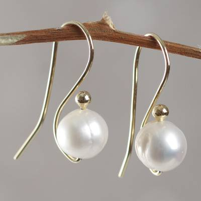 Gold vermeil cultured pearl drop earrings, 'White Balloons' - Handcrafted Cultured Pearl Gold Vermeil Drop Earrings