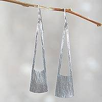 Sterling silver dangle earrings, 'Satin Shine' - Peru Modern Brushed Sterling Dangle Earrings