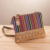 Leather accent cotton blend shoulder bag, 'Ayacucho Rainbow' - Multicolor Cotton Blend Shoulder Bag with Leather Accents
