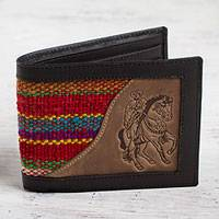 Men's wool accent leather wallet, 'Red Caballero' - Cowboy Theme Men's Black Leather Red Wool Wallet