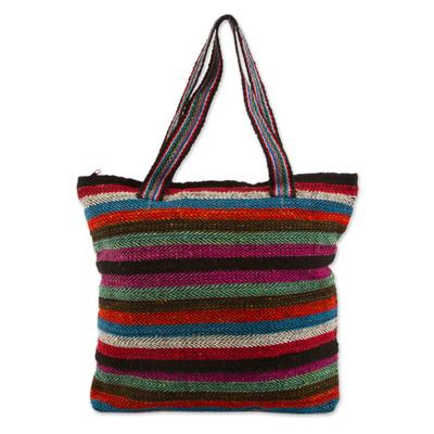 Novica Wool shoulder bag, Andean Sky