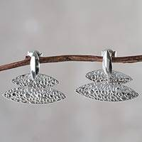 Sterling silver drop earrings, 'Sparkling Sea' - Handcrafted Andean Textured Sterling Silver Earrings